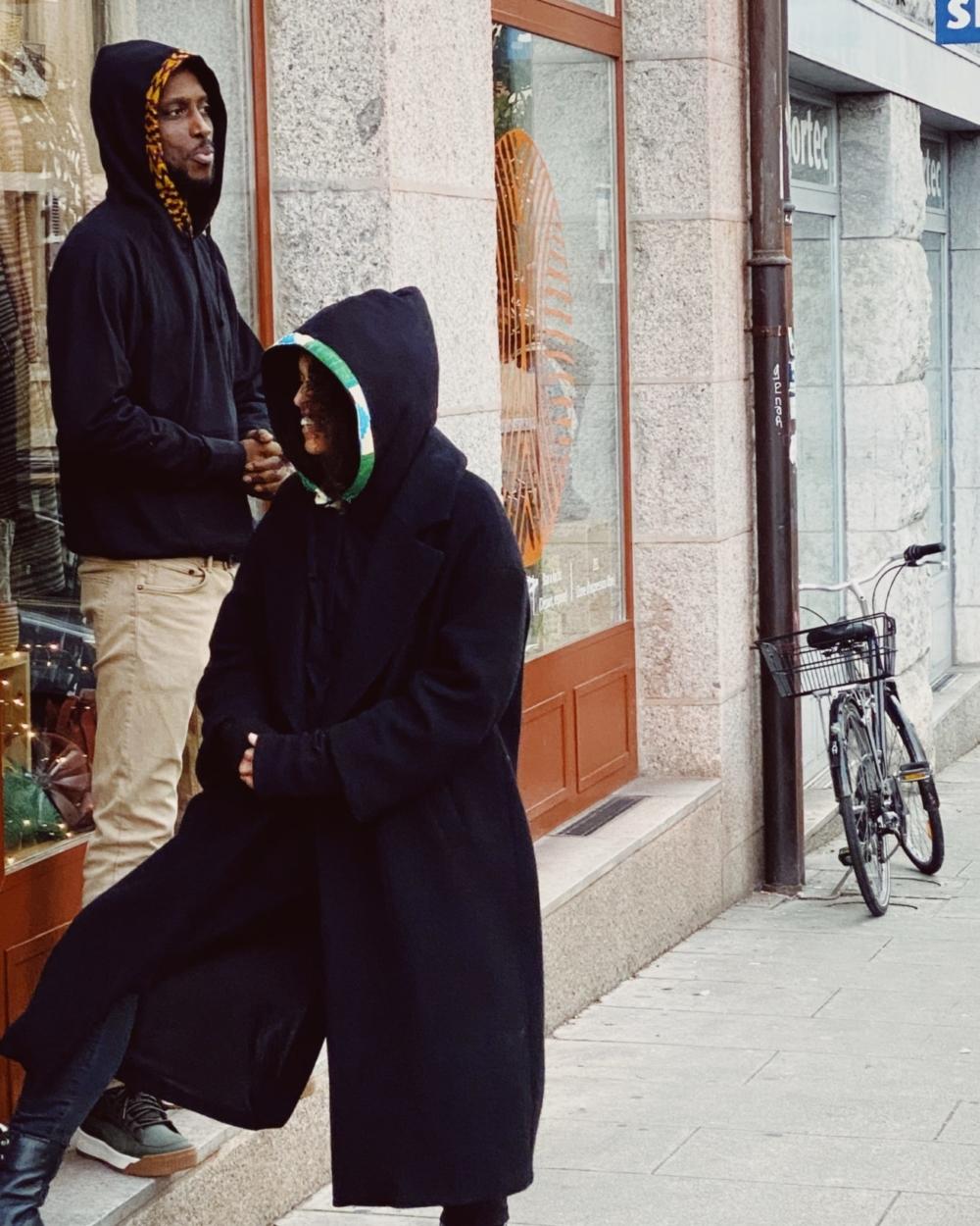 Hoodie Kente Crème Vert Turquoise